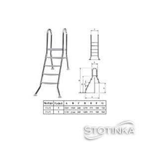Lestev INOX 4x1 stopnic, v120/40 cm